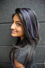 gray hair streaked bith black electric blue hair highlights google search hair pinterest