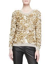 Gold Sequin Cardigan Burberry London Cashmere Blend Crushed Sequin Sweater Honey Melange