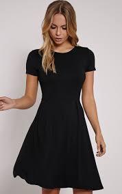 black skater dress basic black cap sleeve skater dress image 1 clothes