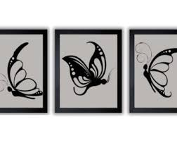 grey gray yellow butterflies butterfly print side view set of