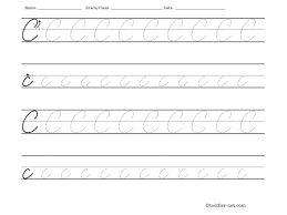tracing worksheet cursive letter c