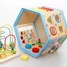 amazon com toaob wooden learning bead maze cube activity center