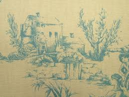 designer w wood blue u0026cream toile de jouy 100 cotton curtain
