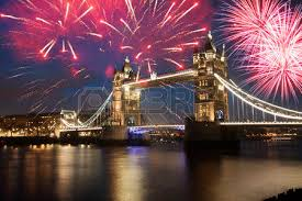 tower bridge with firework celebration of the new year in