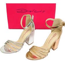ladies dolcis silver or rose gold block heel ankle peep toe sandal