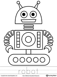 robot coloring word tracing robot child