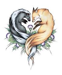 wild animal couple leing on agrimony flowers tattoo design
