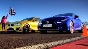 lexus rc yellow bmw m4 takes on lexus rc f in high speed battle