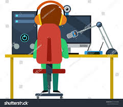 Computer Desk Microphone Lets Player Desk Pc Monitor Computer Stock Vector 447278098