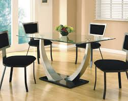 4 Seater Round Glass Dining Table Chair Round Glass Dining Table And Chairs Clear Inside For Eydon 4