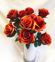 silk bridal bouquets orange brown 12 open stem roses silk wedding flowers bridal