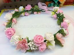 hair wreath pink and light purple wedding decorative flower girl hair wreath