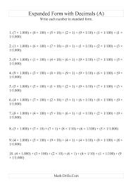 place value in standard form grid paper for math integer worksheets