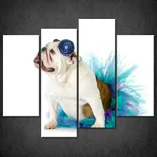 bulldog blue set of 4 canvas wall art pictures prints larger sizes