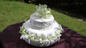Wedding Cake Green Closeup Fresh White Orchid And Beads Decorated Wedding Cake With