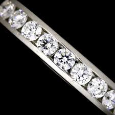 3mm diamond co co half diamond band ring platinum pt950 3mm