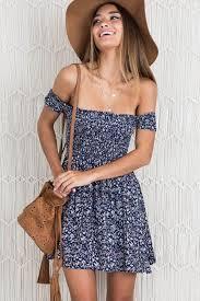 blue off shoulder floral print short sleeve casual dress casual