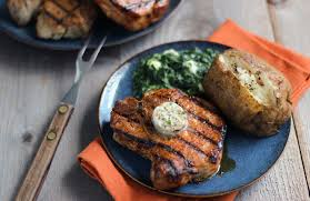 dry rubbed porterhouse pork chops with steakhouse butter pork