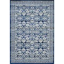 Allen Roth Area Rug Allen Roth Rectangular Blue Geometric Woven Chenille Area Rug