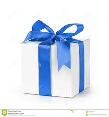 white and blue ribbon white paper gift box with blue ribbon bow isolated stock photo