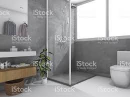 3d rendering loft concrete wall toilet and bathroom stock photo