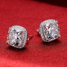 diamond earrings design threeman excellent design 2ct cushion solid white gold