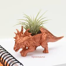 animal planter hand painted copper dinosaur planter with plant by dingading