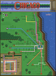 Map Of Cta Chicago by Pixel Art Chicago U201cl U201d Zelda Style Map Some Chicago Improvisor