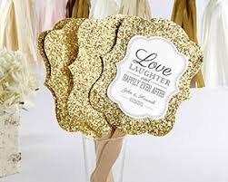 fan favors personalized gold glitter fan gold glam fan favors by