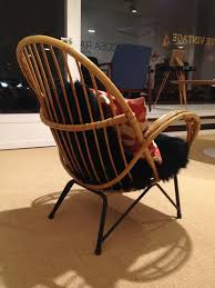 bamboo chair danish bamboo chair with black sheepskin cushions 1950s for sale at