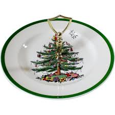 spode tree green trim serving plate with handle