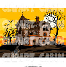 vector clip art of a haunted spooky halloween house at sunset with