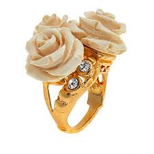 ivory ring bellezza cz bronze and ivory color resin ring 8420672 hsn