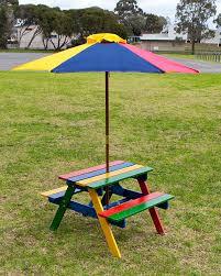 Kids Wooden Picnic Table Kids Picnic Table Setting W Umbrella Wooden Children Garden Park