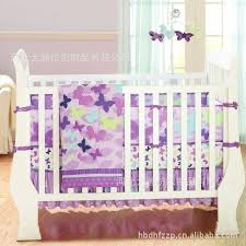 7pcs printing embroidery butterfly flying purple crib bedding