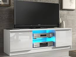 White Tv Cabinet With Doors White Gloss Tv Unit Cabinet With Glass Shelf And Led Light 120cm