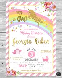 Shrimant Invitation Card Unicorn Baby Shower Personalised Invitation Invite Card Pink Gold