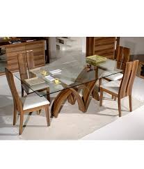 Glass Wood Dining Room Table Furniture Teak Wood 6 Seater Luxury Rectangle Glass Top