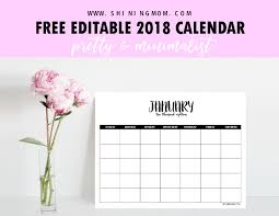 free fully editable 2018 calendar template in word