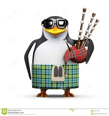 3d scottish penguin with bagpipes stock illustration image 41841404