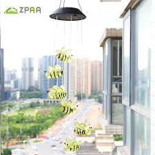 Colour Changing Solar Garden Lights - solar powered colour changing led bee wind chime outdoor garden