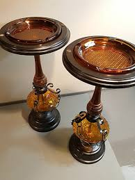 Wood Pedestal Stand Cigarette Pedestal Ashtray Stand Mid Century Amber Glass Wood