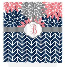 Coral And Navy Curtains Navy And Coral Shower Curtain Curtains Ideas
