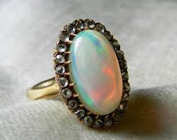 vintage opal engagement rings opal ring 14k 3 5 ct opal and diamond ring deco opal