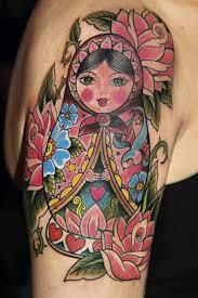 matryoshka heart and roses tattoo on thigh tattoobite com