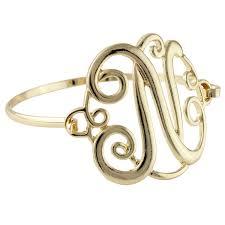 monogram bangle bracelet goldtone letter n classic cursive monogram initial