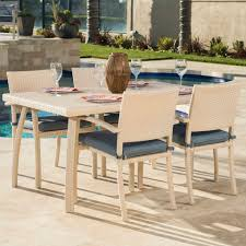Portofino Patio Furniture Portofino Bungalow 5 Piece Cafe Dining Set In Newport Blue