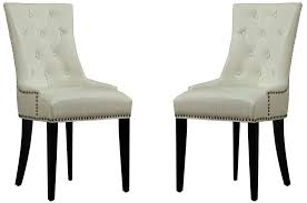 When White Leather Dining Chairs Uptown Cream Leather Dining Chair Set Of 2 From Tov D29