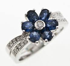 sapphire rings ebay images Diamond flower rings and things white gold diamond sapphire PNG