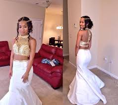 popular white two piece prom dress mermaid buy cheap white two